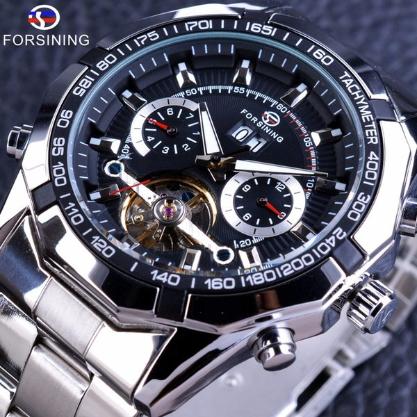 Forsining Automatic Military Wrist Watch Tourbillion Watch Calendar Display Silver Stainless Steel Mens Watches Top Brand Luxury S917