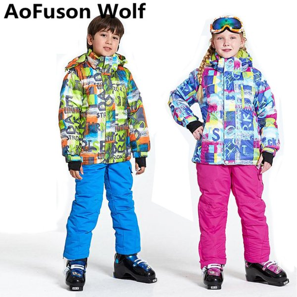 2018 Boys GGirls Ski Suit For Kids Waterproof Windproof Snow Pants+Jackets a Set of Winter Sports Child Thickened Clothes