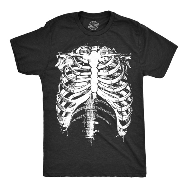Mens Splattered Rib Cage Tshirt Cool Halloween Skeleton Costume Tee For Guys Cool Casual Pride T Shirt Men Unisex New Fashion