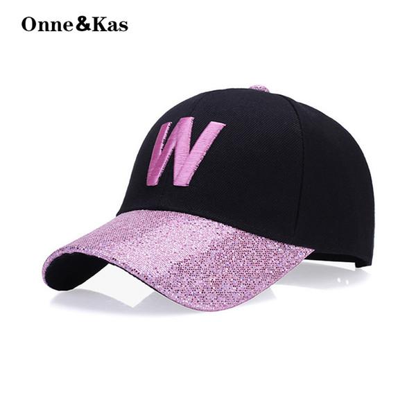 Glitter W mektup Beyzbol Şapkası Kadın Snapback Şapka Yaz pamuk Şapka Rahat Kızlar için Ayarlanabilir Spor Caps