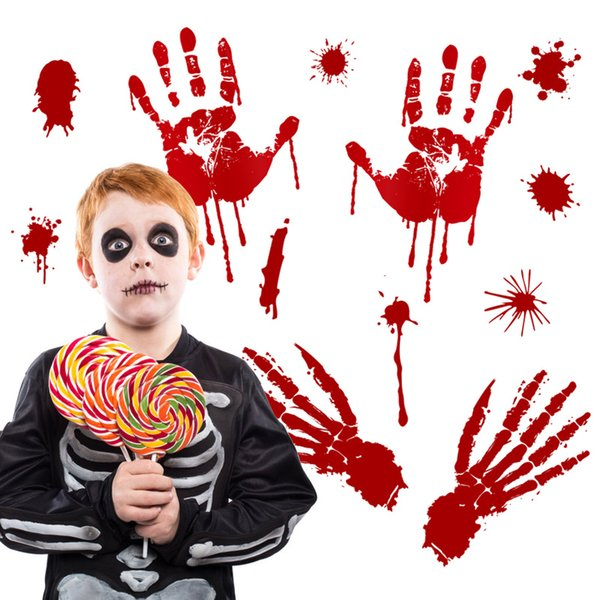 Halloween Wall Sticker Horror Door Sticker Window Window Glass Ornament Pumpkin Footprint Blood Handprint Sticker Halloween decoration