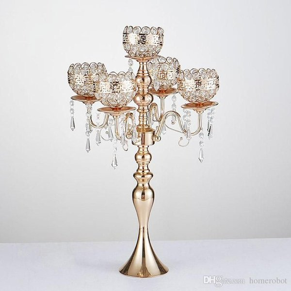 63cm Tall Gold Candle Holders 5-Arms Candlestick For Wedding Stand Pillar With Crystals Portavelas Metal Candelabra
