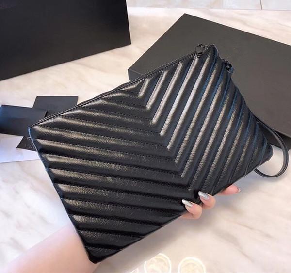 Étui de voyage de luxe V Wave Pattern Portefeuille à fermeture éclair Portefeuille de sac à main noir