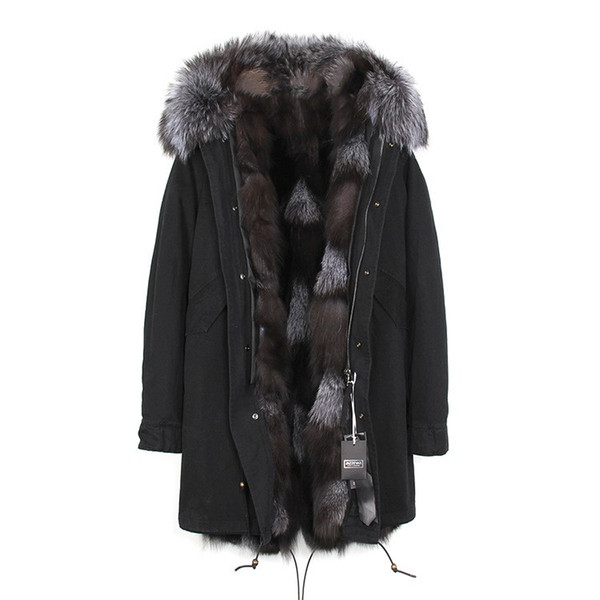 Classic Jazzevar silver fox fur trim women fur jacket silver fox fur lining black long parkas outdoor cold coats USA Germany