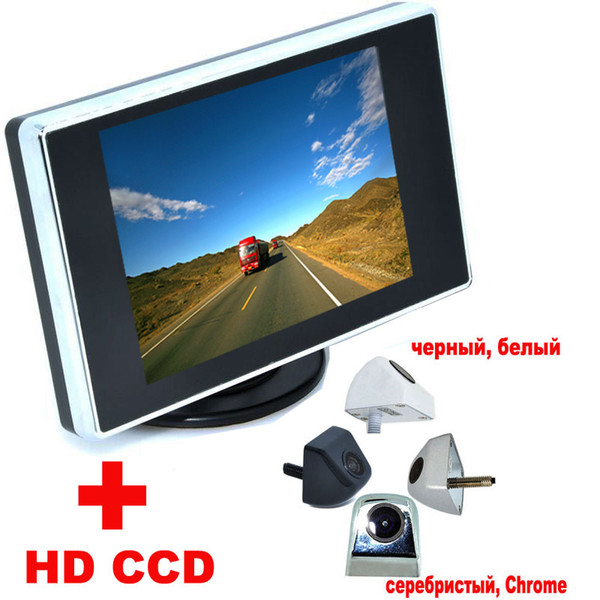 "3.5"" Color LCD Car Video Monitor + 4 colors Univesal Night Vision Car CCD Rear View Camera backup Camera Auto Parking Assistance"