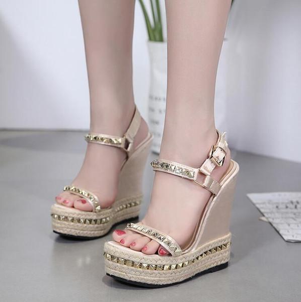 lucky2017 / DiJiGilrs 2018 Summer Women Wedges Sandals Woman Fashion Gladiator Pumps Ladies Rome straw Rivet Handmade Shoes Summer High Heels Sandals Pl