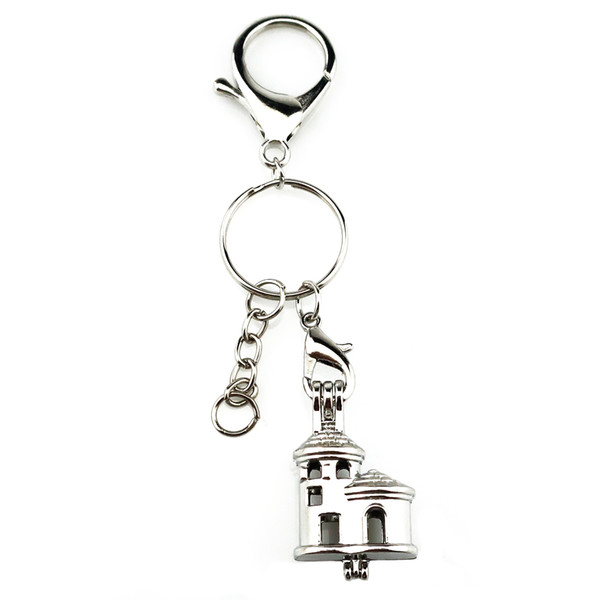 Silver Plated Key Chains Keychain Key Ring Clasp with Rainbow Color Castle Pearl Beads Cage Locket Pendant Beauty Gift Y665