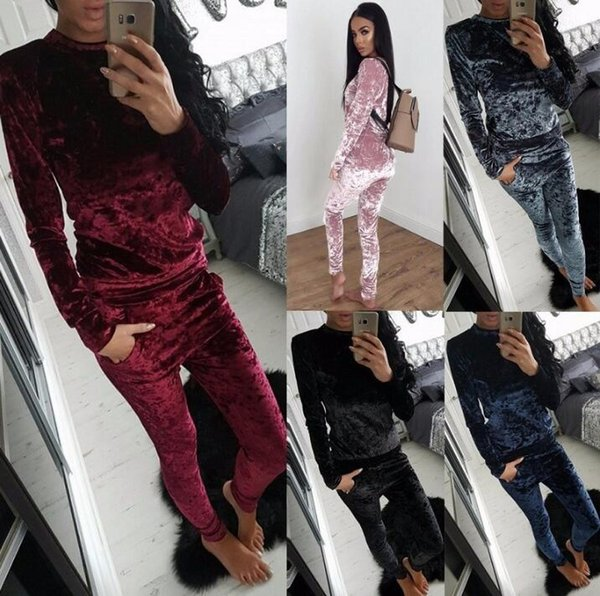 2018 Spring New Womens Ladies Crushed Velvet 2Pcs Tuta Felpa Pantaloni Set Pigiama Tuta sportiva Activewear Outfit Outwear