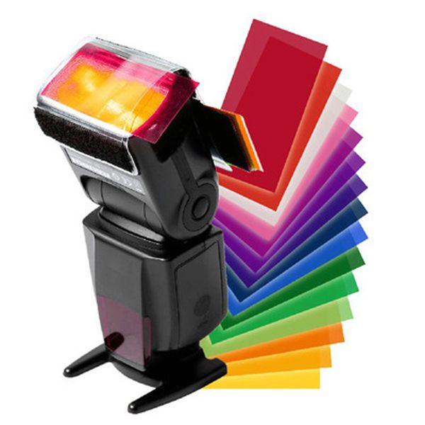 Universal Camera Flash Gel Card Filter Diffuser 12 Color Kit for Godox YONGNUO Viltrox Speedlite Color Balance Softbox Softbox
