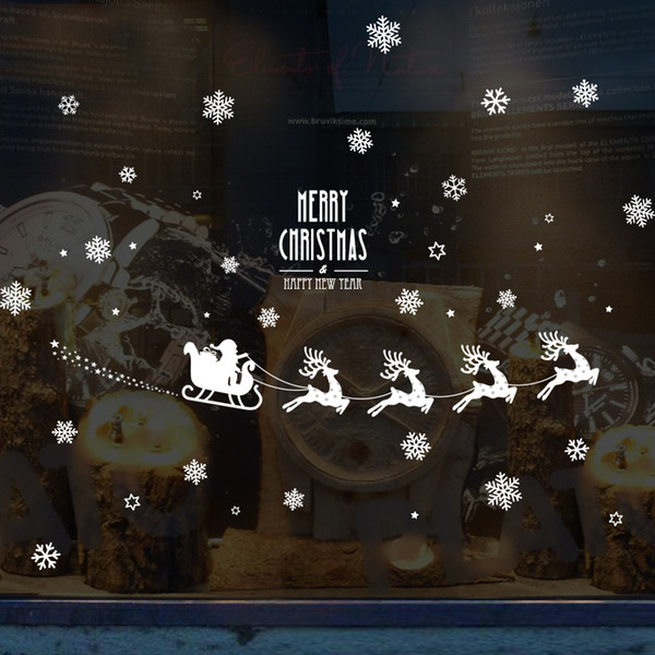 Merry Christmas snowflakes window sticker DIY Vinyl Wall Stickers Elk Glass Home Decor Art Decals Wallpaper decorations for home