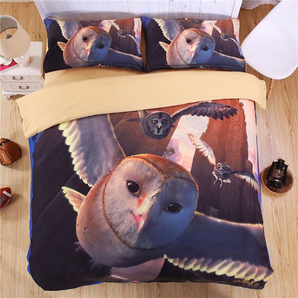 3D Animal world Owl Bedding Set Impresión digital Funda nórdica Set Fundas de almohada Twin Full Queen Super king Tamaño Personalizable