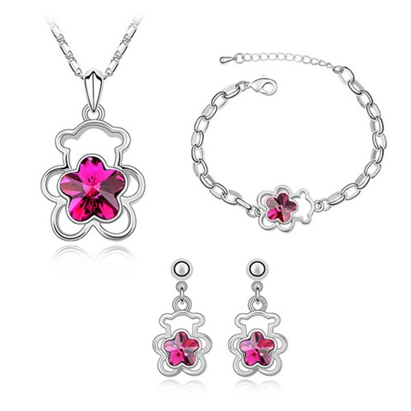 necklace set with earrings and bracelet for girls made with Swarovski elements crystal white gold color fashion brand bear design jewelry