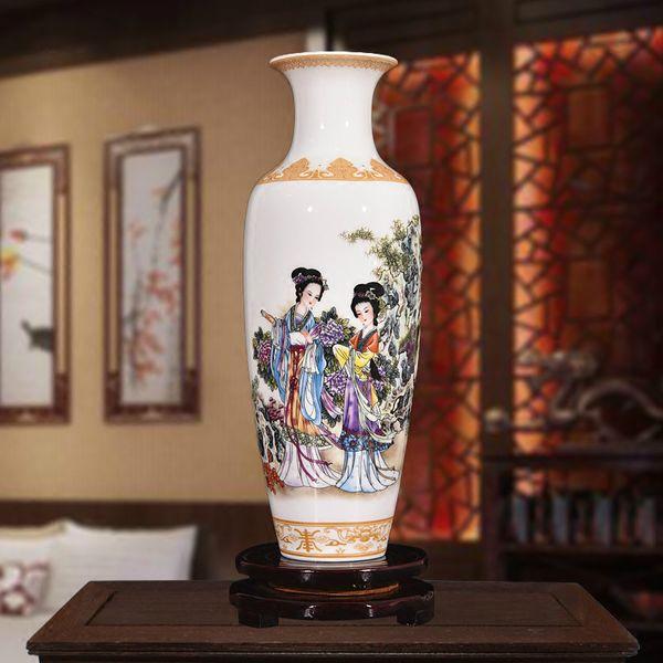 Nouveau style chinois classique vase en porcelaine décoration de la maison Jingdezhen fait main haute argile blanche vases en céramique pour les fleurs