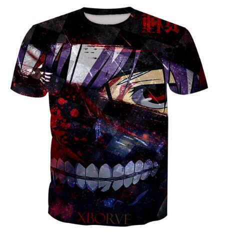 Hot Sale Tokyo Summer Ghoul Graphic 3D Print Short Sleeved T-shirt Funny Men/Women Clothing Hip Hop Style Tops Comfortable Tees