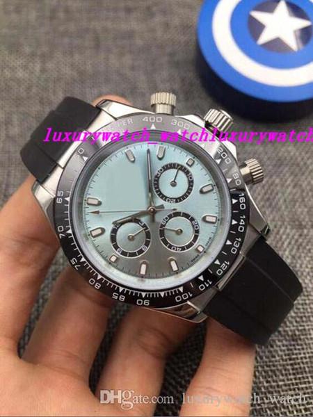 Luxury Watches 18K White Gold 6 Colour Choose Dial Ceramic Bezel 116519 40mm Rubber Strap Automatic Fashion Men's Watch Wristwatch