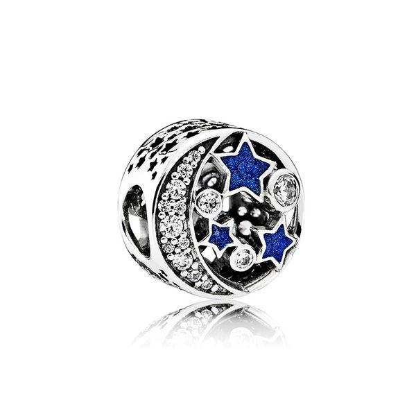 Authentische 925 Sterling Silber Blauer Emaille Sterne und Mond Charms Original Box für Pandora Beads Charms Armband Schmuckherstellung