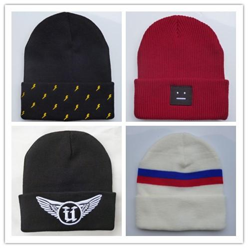 2019 Fashion Unisex warm cheap hats for Men women Red Black Knitted Beanie Wool hat Unkut Y-3 smile casual Beanie Warm Solid hat