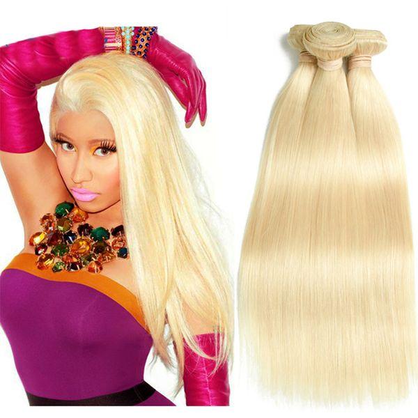 Top Brazilian Virgin Hair Straight Blonde 613 Soft Malaysian Sew In Hair Extensions 3 Bundles Silky Straight Human Hair Weave