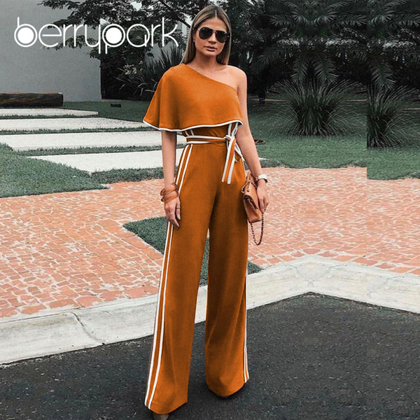 BerryPark High End Formal Party Jumpsuits 2018 Women Elegant Ruffles One Shoulder Side Stripe Wide Leg Pants Rompers with Belt