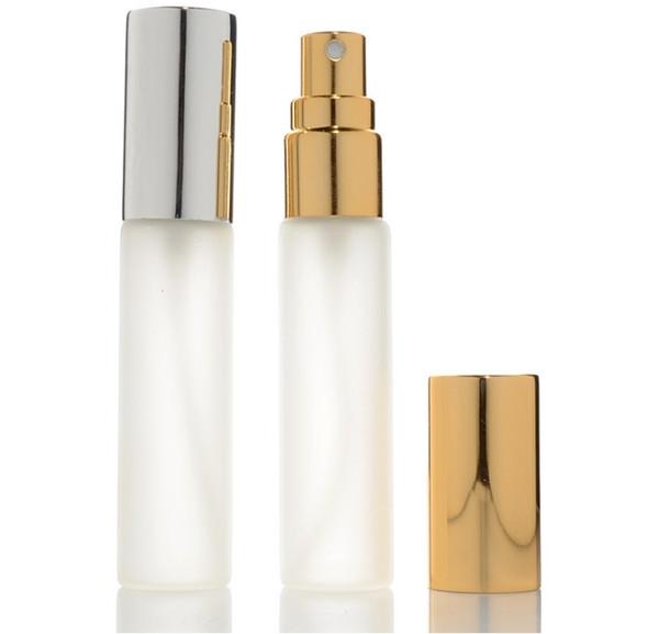 10ml bottiglia di vetro smerigliato bottiglia spray atomizzatore riutilizzabile profumo bottiglia campione fiale con tappo in argento oro wen5906