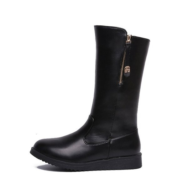 Winter Women shoes flat Snow Boots Ladies Mid-Calf Leather Boots Women Warm short Plush Shoes New Fashion Female Bling Zipper motorcycle boo