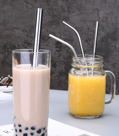 top popular Reusable Stainless Steel Drinking Straws Eco-Friendly 8.5 inch Straight Bend Metal Drinki Straw Brush Party Bar Kitchenware Accessories 2019