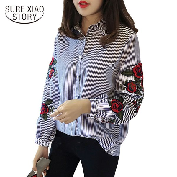2018 Blusa Nuevo Algodón Regular Sring Estudiante Estilo Coreano Dulce Camisa Flor Bordada Femenina Elegante Mujer Blusa Top 923b 30