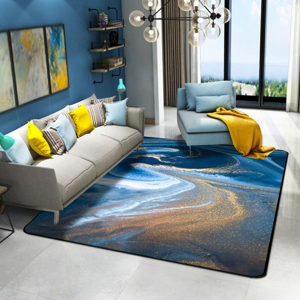 Demissir Abstract Blue Seawater White Golden Crystal Beach Color Carpet For Living Room Parlor Large Rug Children Play Pad Commercial Flooring
