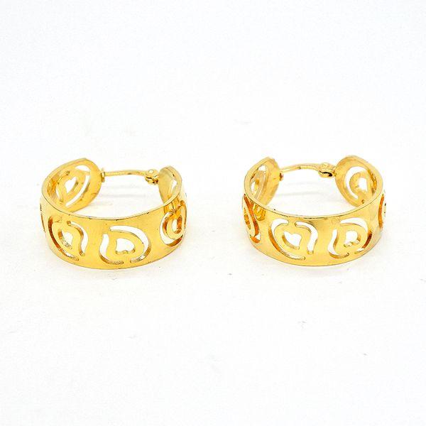 AMUMIU Apple Heart Gold Cercle Classique Hoop boucles d'oreilles en acier inoxydable en acier inoxydable boucle d'oreille pour les femmes Pendientes Mujer HZE036