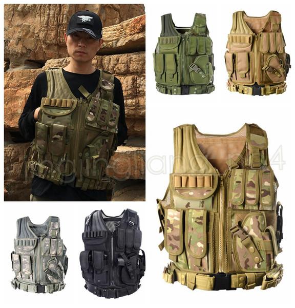Esercito Combattimento Tattico Gilet Militare di Protezione Airsoft Camouflage Molle Vest Outdoor Caccia Gilet di Formazione Vestiti DDA615