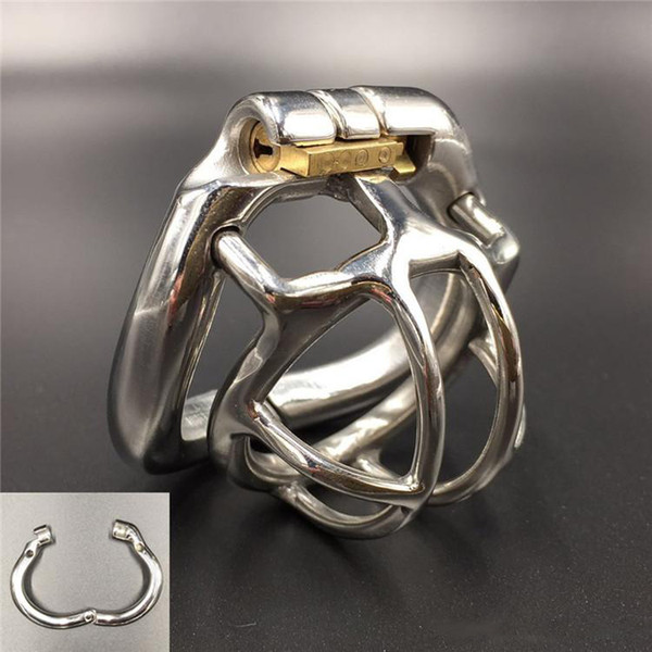NEW Stainless Steel Super Small Male curve Cock Penis Cage Chastity Belt Device ring Sex toys Bondage Chastity belt