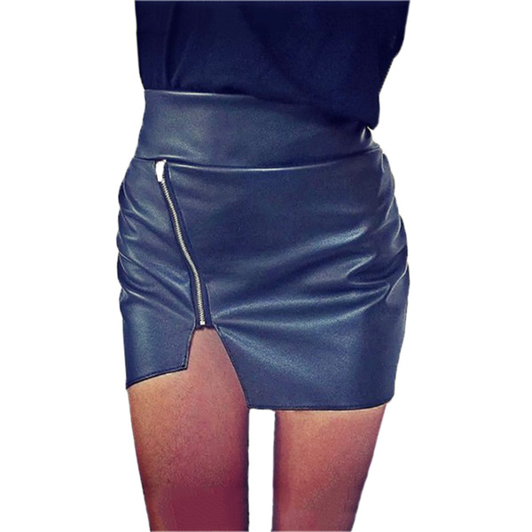 Women Bodycon Top Quality PU Leather Ladies Mini Short Side Split Zip Skirt Black Sexy KH820070
