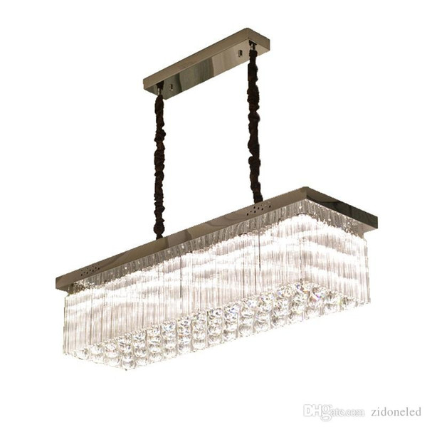 Luxury Modern Crystal Chandelier For Dining Room Rectangle Kitchen Island Hanging Crystal Lamps