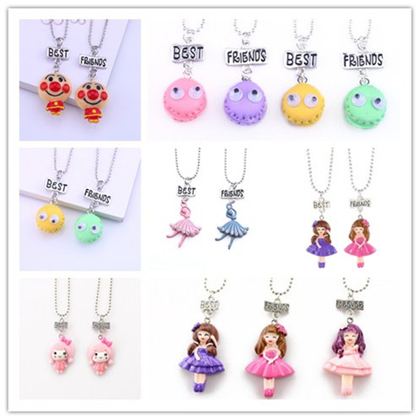 A set Kids best friends pendant necklace Lovely Girls charm BFF necklace For Children Jewellery gift
