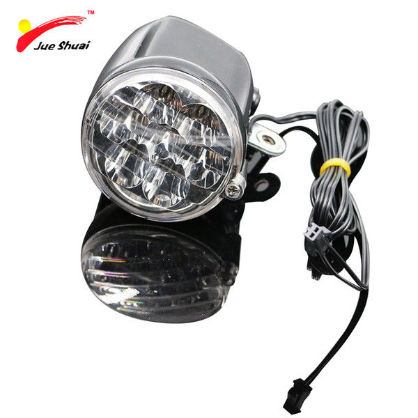JS 7 LED Electric Bike Bicycle Front Light Head Lamp Front Fork Rack Rechargeable 120CM Wire Round Motorcycle Ebike Headlight