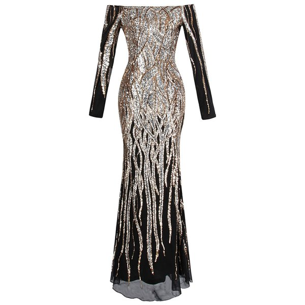 Angel-fashions Women's Boat Neck Long Sleeve Sequins Flapper Ball Gown Evening Dress Party Prom Dresses Black Gold 404