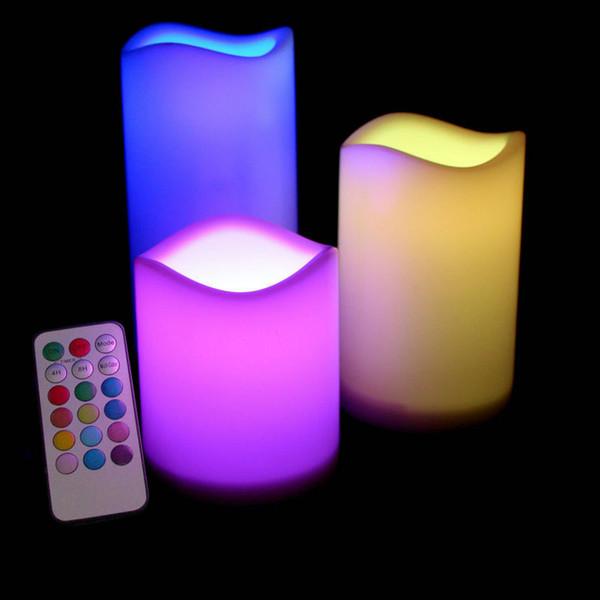 Satz von 3pcs flammenlose LED Kerze Säule Lampe W / 18key Fernbedienung 4h / 8h Timer Hochzeit Home Bar Tisch Dekor - Farbwechsel