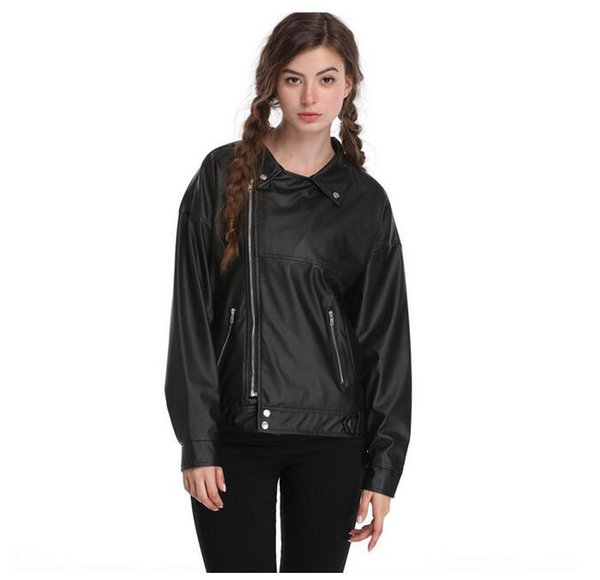 Womens Autunm Winter Faux Leather Short Jacket Leather Biker Jacket Zip Up Outerwear Coat Long Sleeved Leather (Black, Size S- XL)