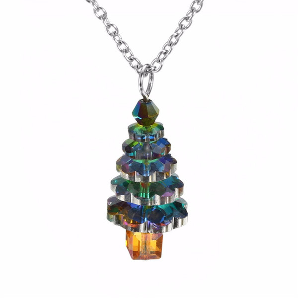Рождественская елка Choker Necklace Green Crystal Gems Tree Pendant Necklace