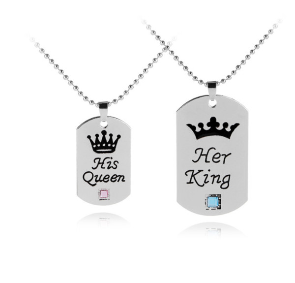 "2PCS Lovers Couple Pendant ""Her King His Queen"" Engraved Crystal Silver Necklace Xmas Gifts"