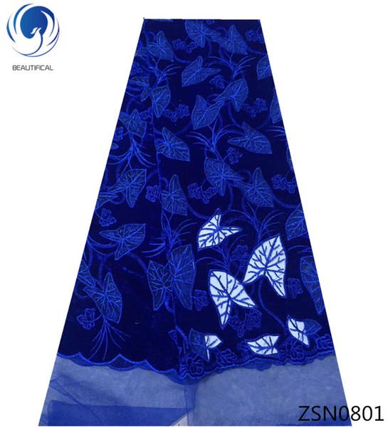 Tissu de velours de tissu de dentelle de flanelle bleue derniers lacets africains 2018 tissus de dentelle pour les produits de fête 5yards / lot ZSN08