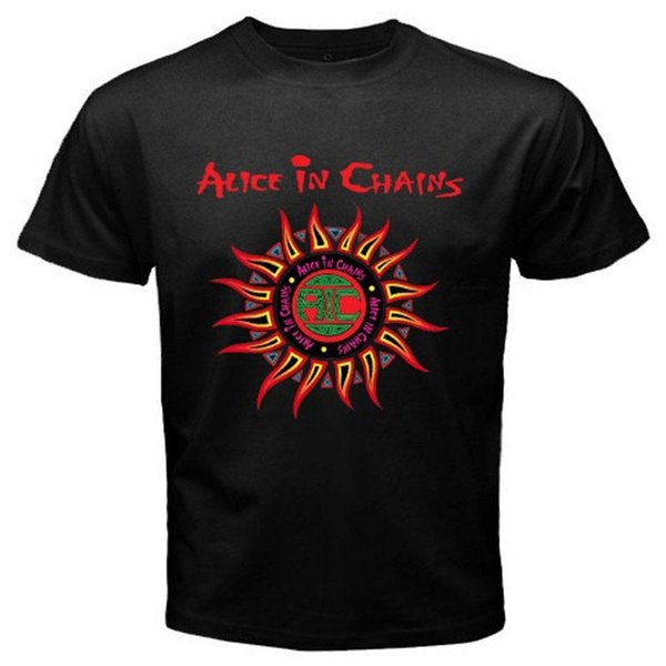 New 26579-Alice in Chains Logo Men Black Anime T Shirt Size S-5XL