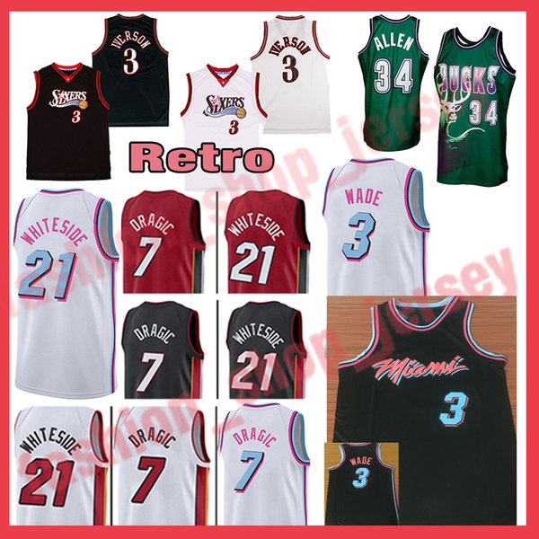 official photos a43a6 4c89b 2018 3 Allen Iverson 34 Ray Allen Miami Heat Retro Jersey 3 Dwyane Wade 21  Hassan Whiteside 7 Goran Dragic From Fashion_shop_jersey, $19.46 | ...