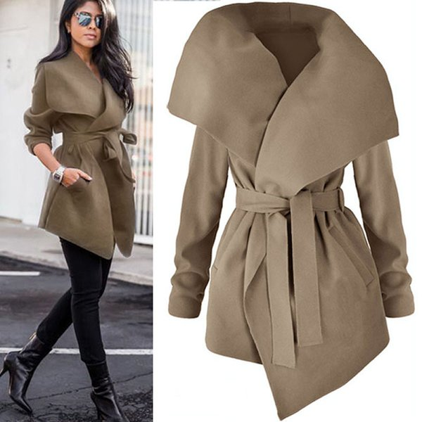 Women Lapel Belt Trench Coat EleLace Up Woolen Long Coat Outerwear 2018 Spring Autumn Fashion Windbreaker Cardigan Overcoat