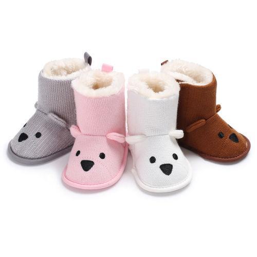 94bb6949ca5f0 0-18M Newborn Infant Kid Bear Baby Boys Girls Snow Boots Knit Crochet Soft  Sole Shoes Anti-Slip Boots Warm Slippers