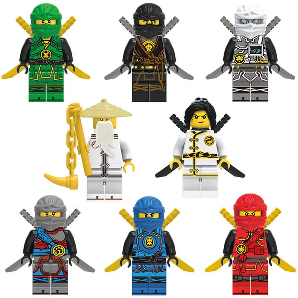 8pcs Ninja Spinjitzu Sensei Wu Nya Kai Jay Lloyd Cole Ninja Figure With Dual Swords Weapon Mini Building BLock Toy Figure