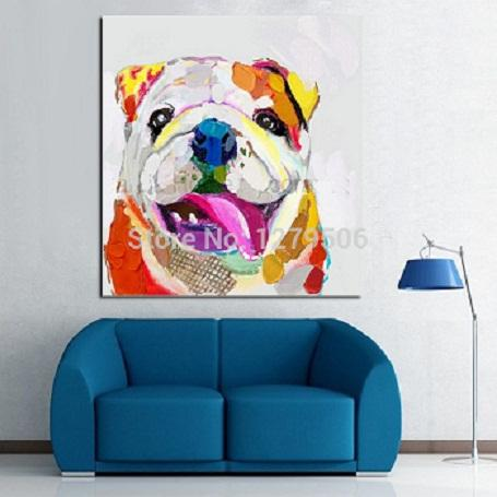 Handpainted &HD Printed Abstract Animal Art oil painting Lovely Dog On Canvas Home Decor Multi Sizes Frame Options p70