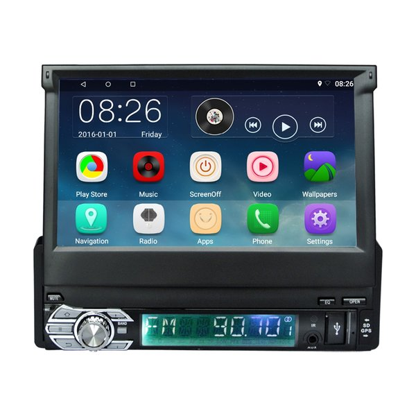 1 Din 7 inch Retractable Touch Screen Android 6.0 Car Mulltimedia Video Player Auto Audio With FM Radio Blutooth GPS