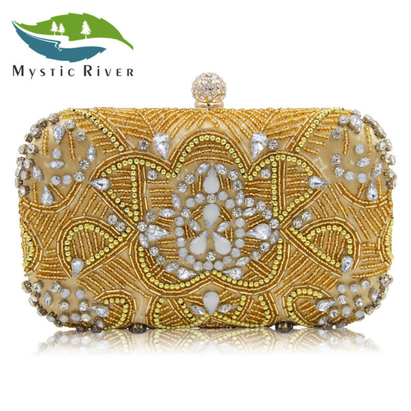 Mystic River New Design Beaded Clutch Women Evening Bag Ladies Wedding Purses With Diamonds Gold/Silver Girls Day Clutches