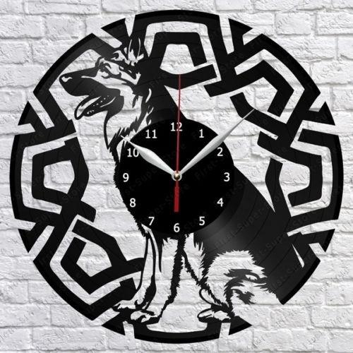 German Shepherd Dog Vinyl Record Wall Clock Fan Art Home Decor Handmade Art Personality Gift (Size: 12 inches, Color: Black)